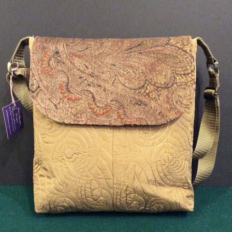 """Totally Hip"", Large Crossbody Bag, Quilted Fabric with Velvet Tapestry Flap"