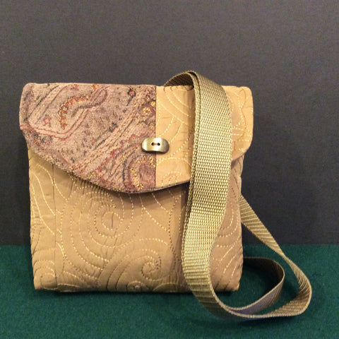 """Totally Hip"", Small Crossbody Bag, Quilted Fabric with Tapestry Flap and Brass Button"