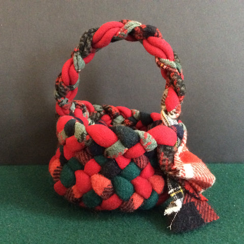 Small Braided Basket with Handle, Red Plaids, Debbie Orland, Colton, NY