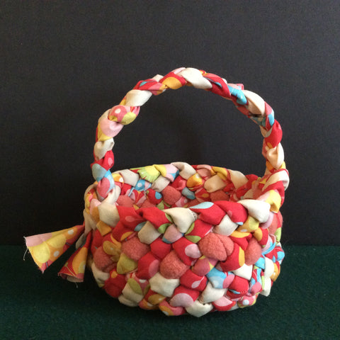 Small Braided Basket with Handle, Pastel Colors, Debbie Orland, Colton, NY