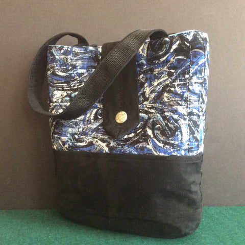 """Notebook"" Bag, Black Suede Finish Fabric with Blue, White and Black Abstract Print"