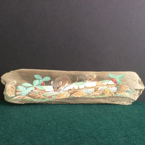 Driftwood Painting Deer Mice and Birch Log and Wintergreen