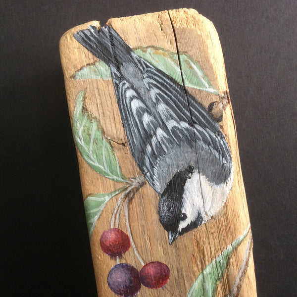 Driftwood Painting Chickadee and Serviceberry Leaves