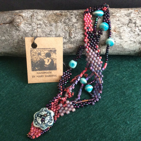 Free Form Peyote Stitch Bracelet with Handmade Ceramic Beads, Mary Harding