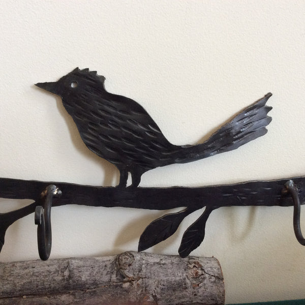 Bird on Branch iron wall hook rack