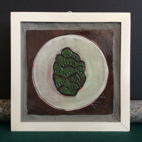 Pinecone tile with wood painted wood frame
