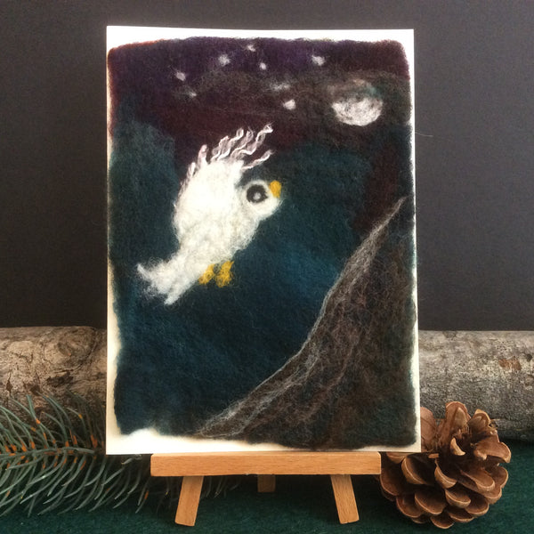 "Hand Felted Card, ""Owl in Moonlight"", Kathy Montan, Canton, NY"