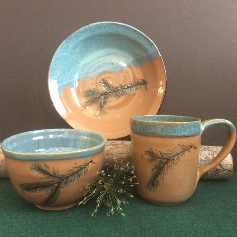 Assorted Stoneware Pottery with Spruce Design and Turquoise Interior Glaze