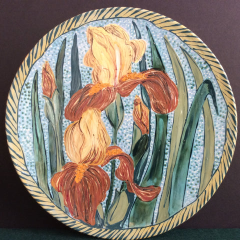 Large Round Platter with Irises