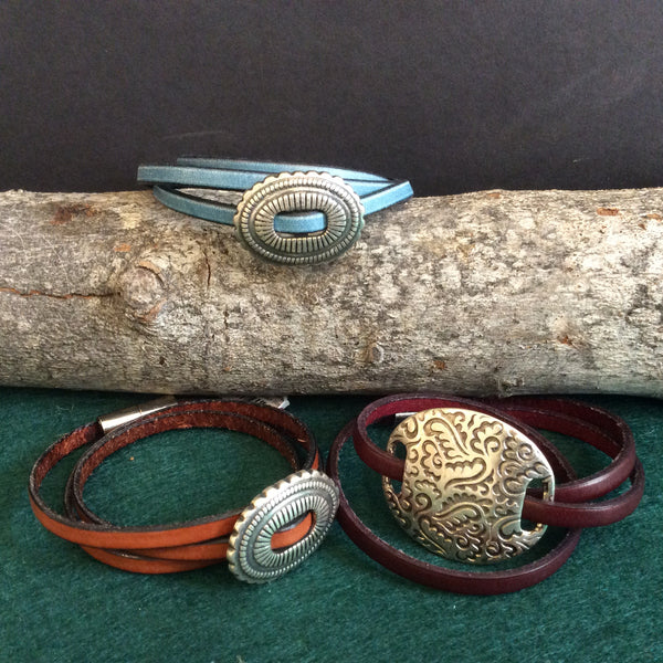 Assorted triple wrap leather bracelets, City Wraps, Greenwich, NY