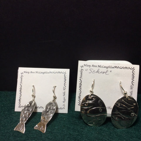 Fish Motif Silver Earrings