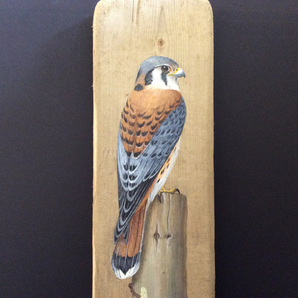Driftwood Painting Kestrel and WIldflowers