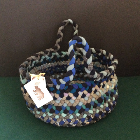 Large Braided Basket in Blues, Debbie Orland, Colton, NY