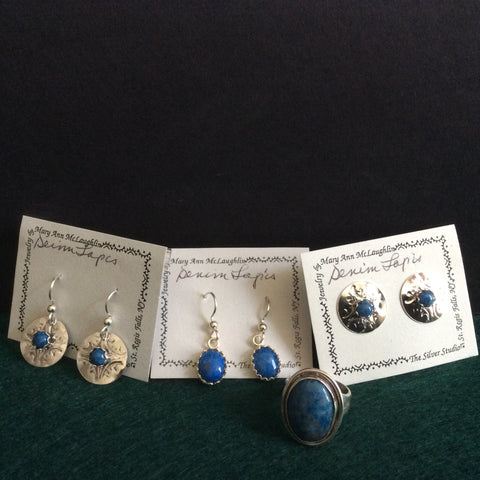 Assorted Silver Jewelry with Denim Lapis Stones