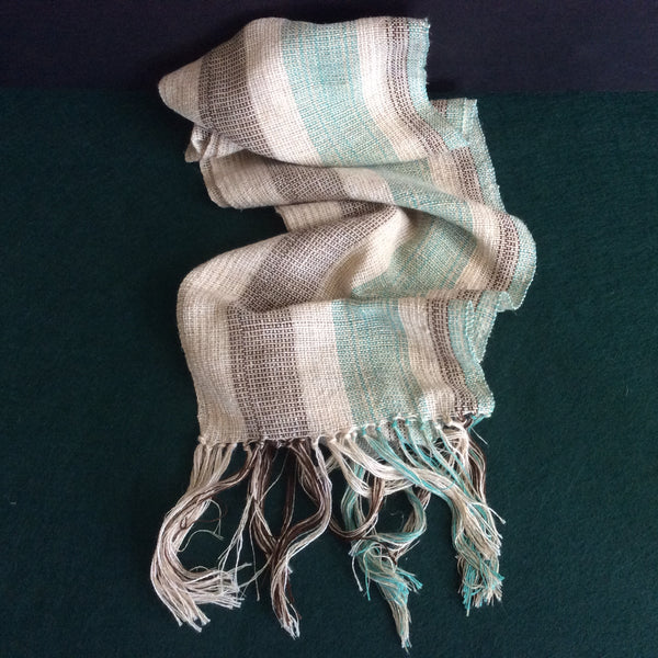 Hand Woven Raw Silk Scarf, Natural, Turquoise and Brown Stripes, Isis Melhado, Canton, NY