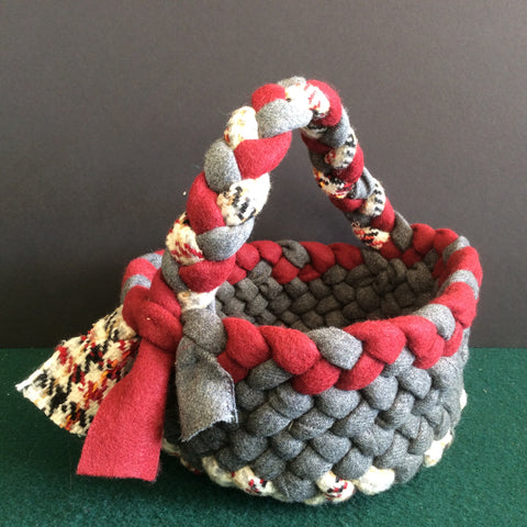 Braided Wool Basket Maroon, Gray and Tweed with Handle, Debbie Orland, Colton, NY