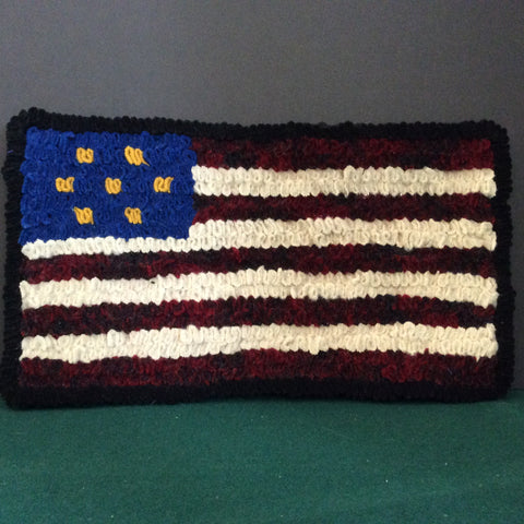 Shirret Woolen Mat American Flag, Francine King, Cape Vincent, NY