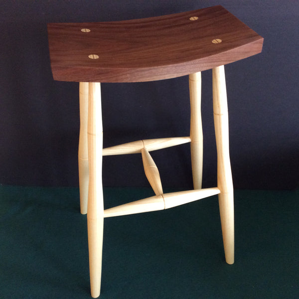 Ash/Walnut Stool, Bill Smithers, Hammond, NY