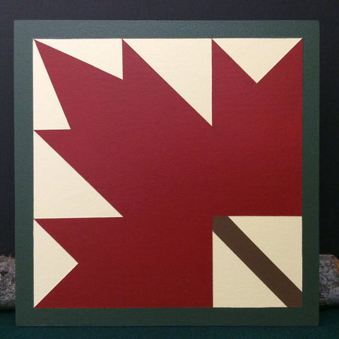 Small Barn Quilt Maple Leaf Pattern in Red 1' X 1'