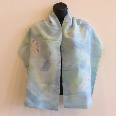 Silk Scarf Pale Green/Blue with Butterfly Design