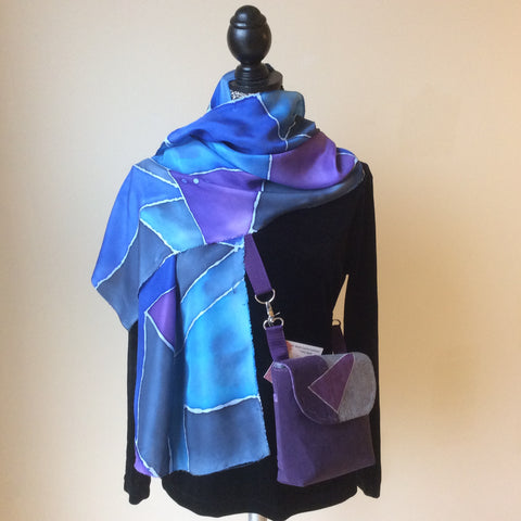Hand Painted Silk Scarf Abstract Design in Blues and Purples