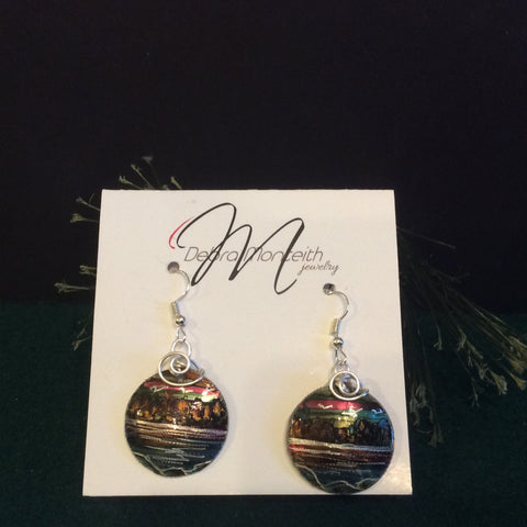 Textured Earrings Land and Water with Silver Wire Wrap, Debra Monteith, Morristown, NY