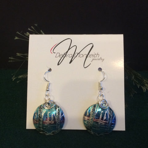 Textured Earrings Birch Trees, Sailboats and Water with Silver Wire Wrap, Debra Monteith, Morristown, NY