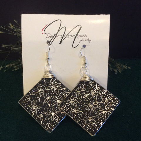 Textured Earrings Large Diamond Shape Silver Floral Design on Black, Debra Monteith, Morristown, NY