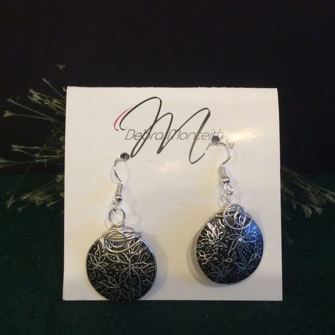 Textured Earrings Silver Floral on Black, Debra Monteith, Morristown, NY