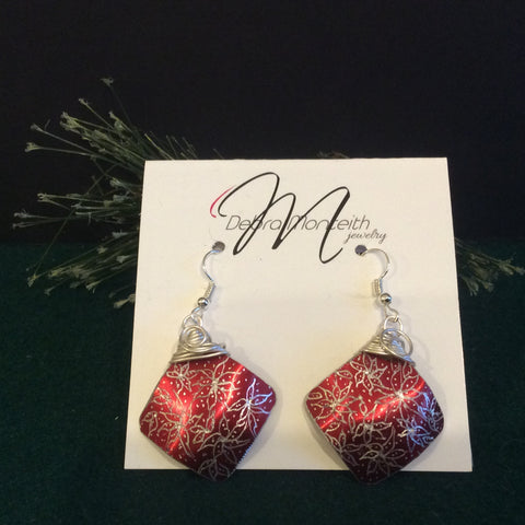 Textured Earrings Diamond Shape Silver Floral Design on Rose Red, Debra Monteith, Morristown, NY