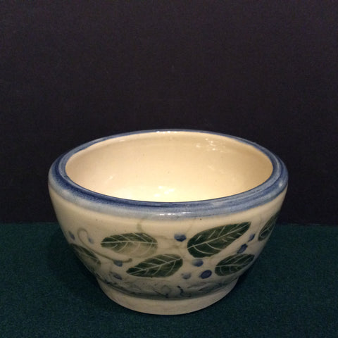 Small Stoneware Bowl Cream with Blueberries, Jackie Sabourin, Lake Shore Road, Peru, NY