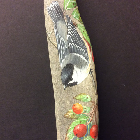 Driftwood Painting Chickadee and Ornamental Crabapples
