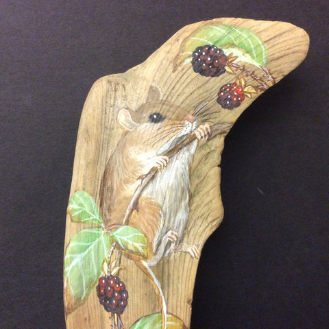 Driftwood Painting Mouse and Blackberries