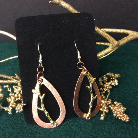 Copper Earrings with Gold Toned Branch Overlay, Christina Adams, Canton, NY
