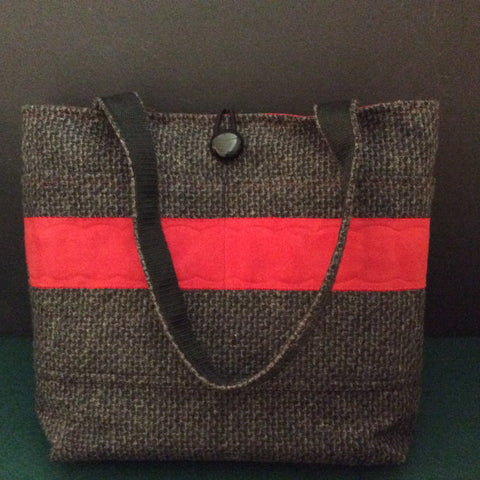Tote Bag, Charcoal Gray Weave with Decorative Red Panel