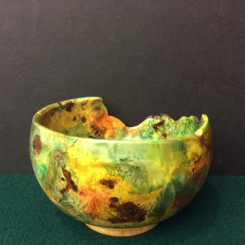 Burl Cottonwood Bowl Dyed with Sycamore Base, David Buchholz, Augur Lake, Keeseville, NY