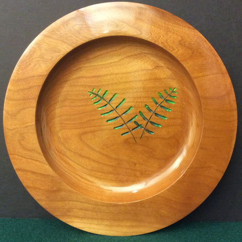 Cherry Plate with Carved Painted Fern, David Buchholz, Augur Lake, Keeseville, NY