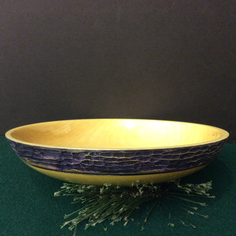 Poplar Bowl with Blue and Gold Textured Rim, David Buchholz, Augur Lake, Keeseville, NY