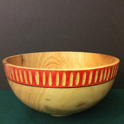 Bowl with Carved Red Rim, David Buchholz, Augur Lake, Keeseville, NY