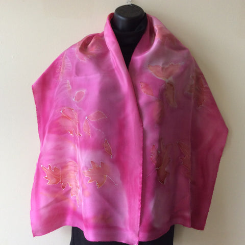 Hand Painted Silk Scarf, Pink with Maple Leaf Design