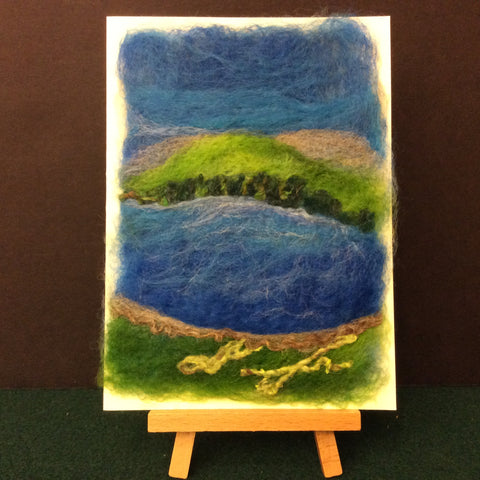 "Hand Felted Card ""Mountain Lake"", Kathy Montan, Canton, NY"