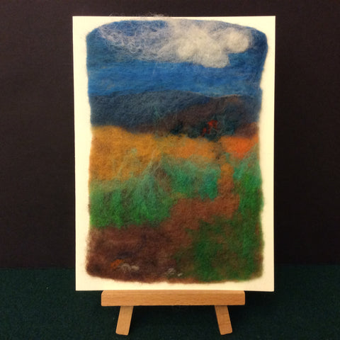"Hand Felted Card "" Distant Mountains"", Kathy Montan, Canton, NY"