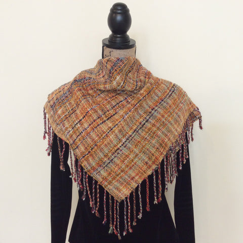 "Handwoven Silk, Cotton, Linen, Reversible ""Jennifer"" Scarf in Gold, Kim Richey, Chateaugay, NY"