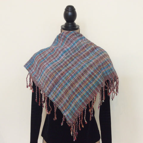 "Handwoven Silk, Cotton, Linen, Reversible ""Jennifer"" Scarf in Gray Blue, Kim Richey, Chateaugay, NY"