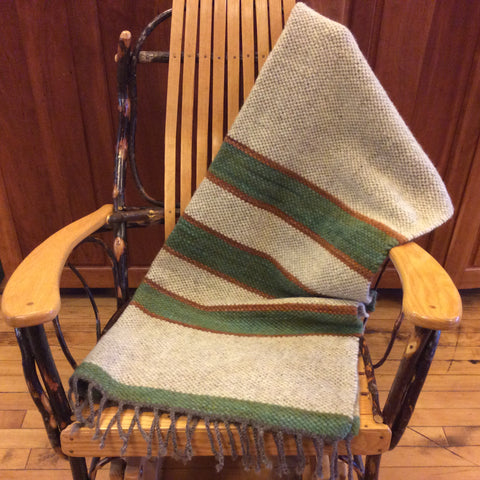 Hand Dyed, Handwoven Wool Blanket Natural, with Green and Rust, Kim Richey, Chateaugay, NY