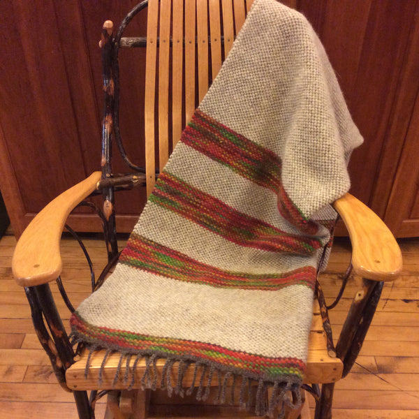 Hand Dyed, Handwoven Wool Blanket Natural, Bright Colors, Kim Richey, Chateaugay, NY