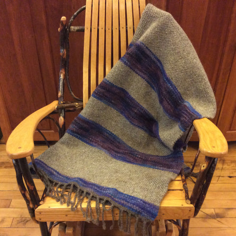 Hand Dyed, Handwoven Wool Blanket Twin, Gray with Blue and Purples, Kim Richey, Chateaugay, NY
