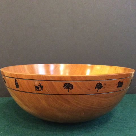 Large Bowl with Embossed Trees and Deer, David Buchholz, Augur Lake, Keeseville, NY