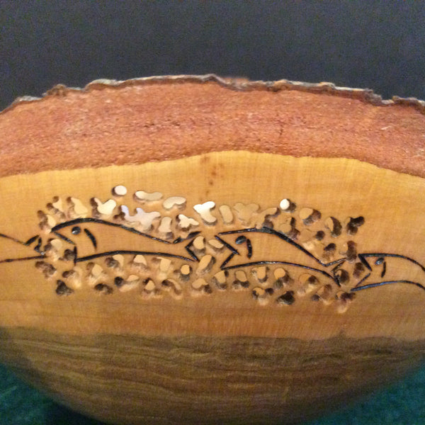 Natural Edge Maple Bowl Pierced and Wood Burned, David Buchholz, Augur Lake, Keeseville, NY
