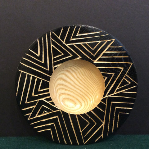 Small Plate Sgraffito Black Gesso, Carved, David Buchholz, Augur Lake, Keeseville, NY